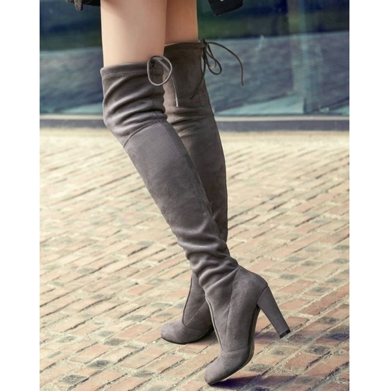 Faux Suede Women Over The Knee Boots Lace Up Sexy High Heels Shoes Woman Female High Boots Botas 34-43 Women High Boot