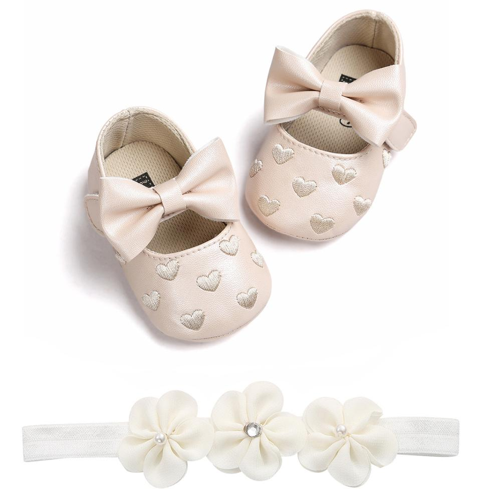 2019 Summer Toddler Shoes Baby Girls Boys Princess Pu Shoes Newborn Moccasins Kid Baby Bow First Walkers Baptism Shoes Headband