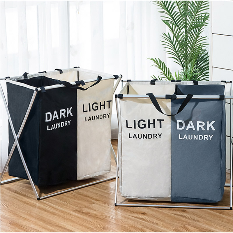Organizer Basket Dirty-Clothes Laundry Hamper Three-Grid Waterproof Large Collapsible