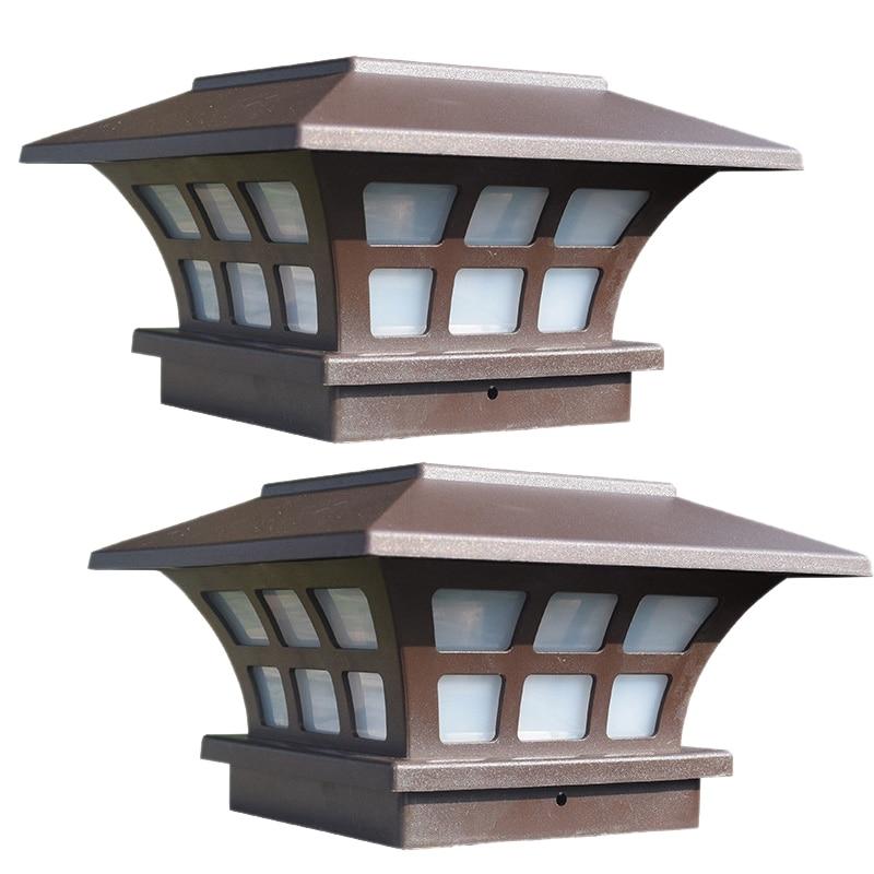 2Pack Solar Post Lights Waterproof Outdoor Cap Lights For Wooden Or Vinyl Posts Deck LED Lights