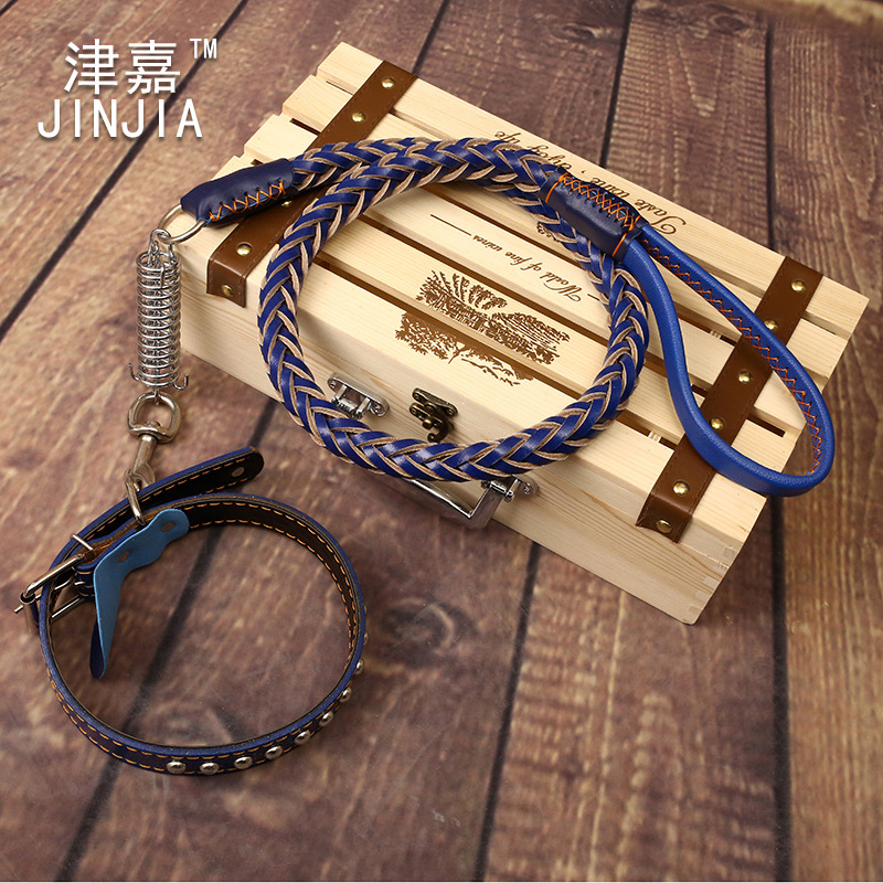 Tianjin Jia Zhong-Shaped Dogs Large Dog First Layer Genuine Leather Set Dog Chain Traction Belt Pet Traction Rope Whole Piece Le