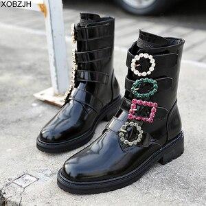 Image 5 - Дизайнерские черные ботинки со стразами; роскошные женские брендовые зимние ботинки из натуральной кожи; коллекция 2019 года; женские ботинки на плоской подошве