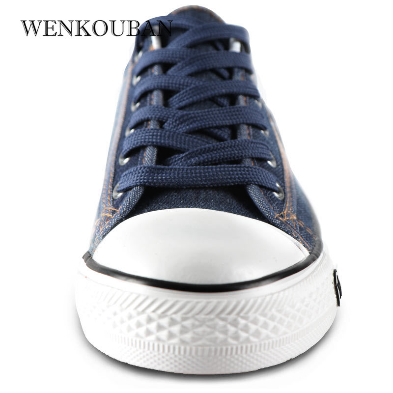 Image 5 - Denim Sneakers Men Vulcanize Shoes Lace Up Canvas Trainers  Men Casual Shoes Anti Slip Sneaker Male Flats Zapatos De HombreMens Vulcanize Shoes   -