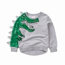 Детский осенне-зимний свитер с милым рисунком динозавра; Новые Топы для мальчиков и детей; Модный спортивный костюм с рисунком динозавра; топы