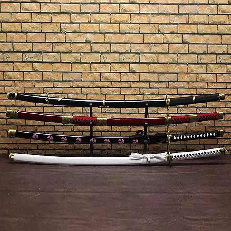 Handmade Smaurai Swords Katana Japanese Real Cosplay Anime One Piece Zoro Sword 1045Carbon Steel Sharp Four Color
