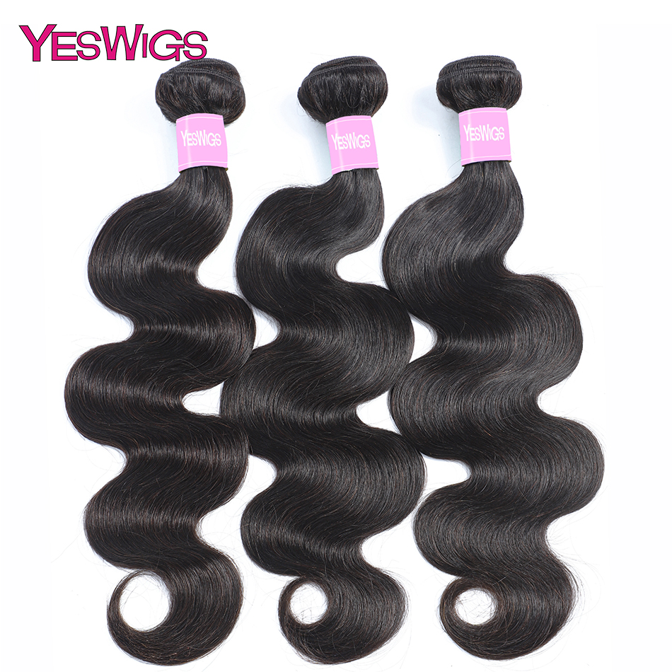 Yeswigs Bodywave Bundles Peruvian Body Wave Hair Weave Bundles Non Remy Human Hair Extensions Single 1/3/4 Pieces Natural Color