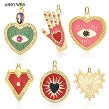 ANDYWEN – pendentif rond en forme de cœur rouge en argent Sterling 925, bijoux fins colorés, émail, arc-en-ciel, Rock, Punk, cadeau de mariage