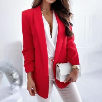 Elegancka dama jesień klapa jednolity kolor Slim-dopasowany płaszcz z długim rękawem marynarka damska jesień moda marynarka kurtki praca w biurze garnitur