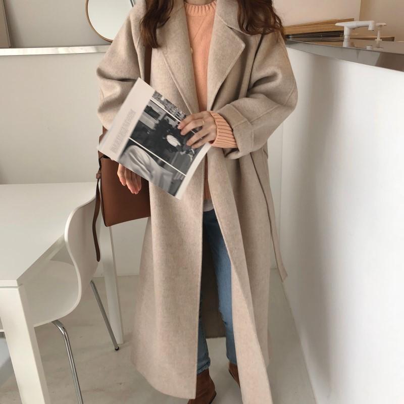 19 Winter Oversize Long Trench Coat Women Cashmere Coat Korean Lady Windbreaker Outwear Streetwear 82