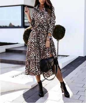 Casual Long Sleeve Split Leopard Print Dress