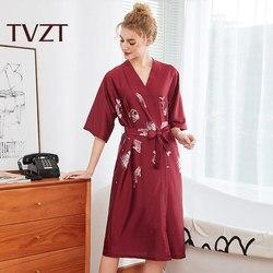 Tvzt 2020 new pajamas women elegant home service sleep clothes women printed pattern comfortable wide-sleeved pajamas