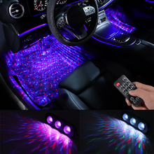 4pcs Car LED Starry Foot Light USB Atmosphere Ambient DJ Mixed Colorful Music Sound Voice Control Laser Lamp car led 36 smd foot lamp ambient light voice control music lamp phone control lamp 5050 12 smd 12v