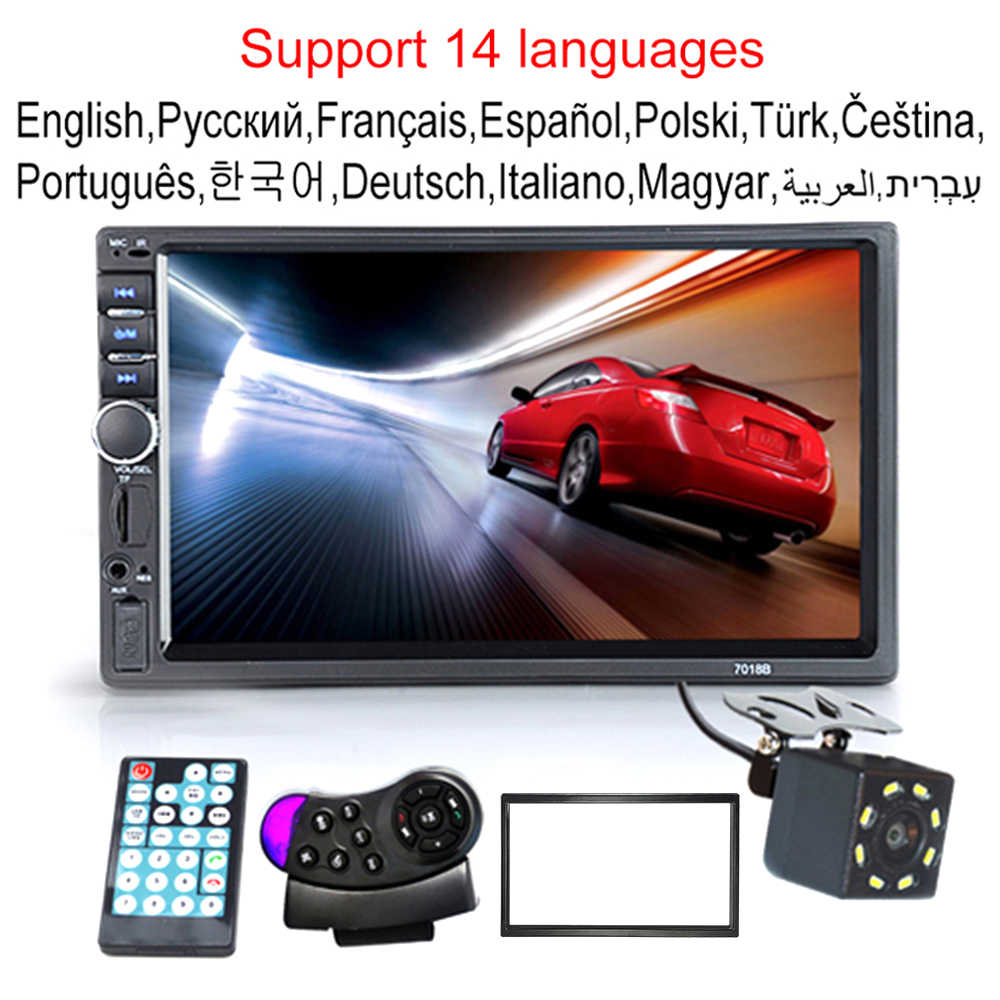 "Autoradio 2 Din Hd 7 ""Touch Screen Stereo Bluetooth Fm Iso Power Aux Input MP5 Speler Sd Usb met/Zonder Camera 12V"
