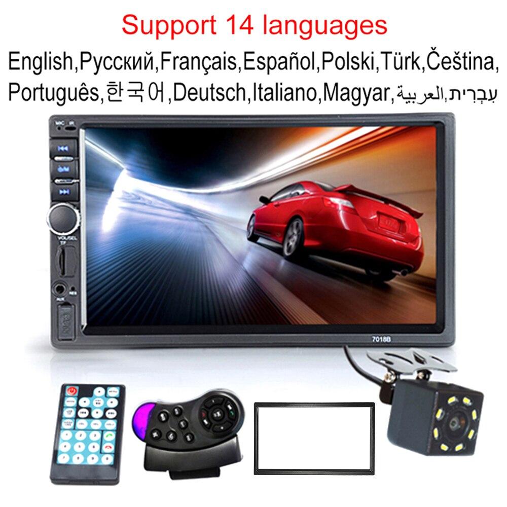 Автомагнитола 2 Din, HD, сенсорный экран 7 дюймов, стерео, Bluetooth, FM, ISO, мощность, Aux, вход, MP5, SD, USB, с/без камеры, 12 В