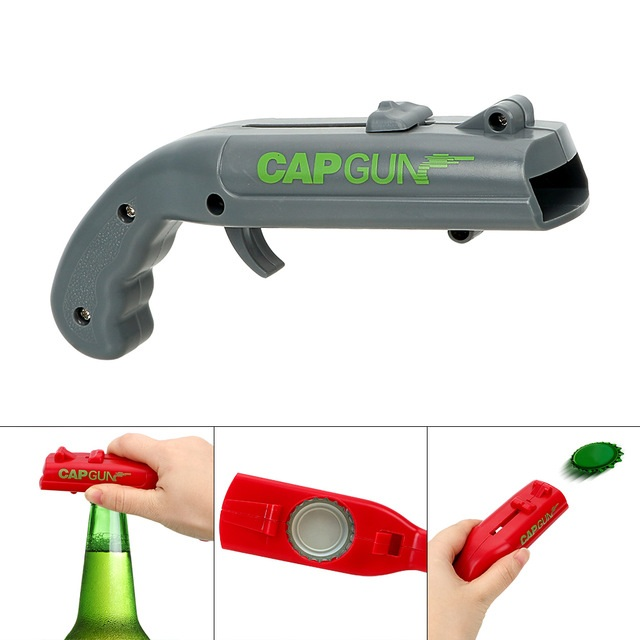 NEW Firing Cap Gun Creative Flying Cap Launcher Bottle Beer Opener