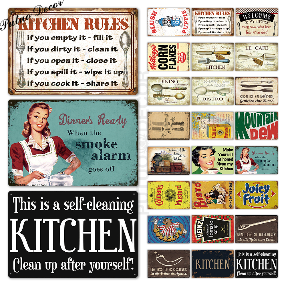 US $17.17 17% OFFKitchen Metal Sign Plaque Metal Vintage Tin Sign Retro  Kitchen Signs House Home Dinning Room Wall Decor Metal SignsPlaques &  Signs