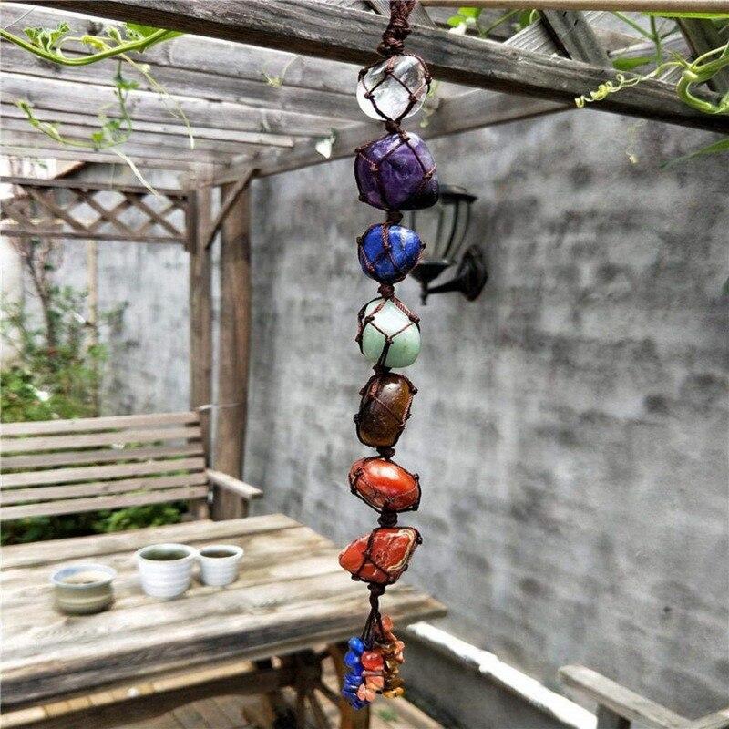Colgante de piedra de jardín con borla de piedras preciosas de meditación espiritual colgante de ventana de Feng Shui Ornament piedras naturales para la decoración del hogar del coche Colgante Sunligoo de 7 piedras preciosas de Chakra, colgante de meditación espiritual, ventana, ornamento de Feng Shui, piedras de Reiki para decoración del coche