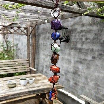 Colgante de piedra de jardín con borla de piedras preciosas de meditación espiritual colgante de ventana de Feng Shui Ornament piedras naturales para la decoración del hogar del coche
