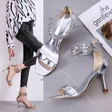 High-heeled shoes 2020 summer new fine-heeled open-toe high-heeled sandals female fashion wild word with Roman sandals Z981 clear panel two part heeled sandals