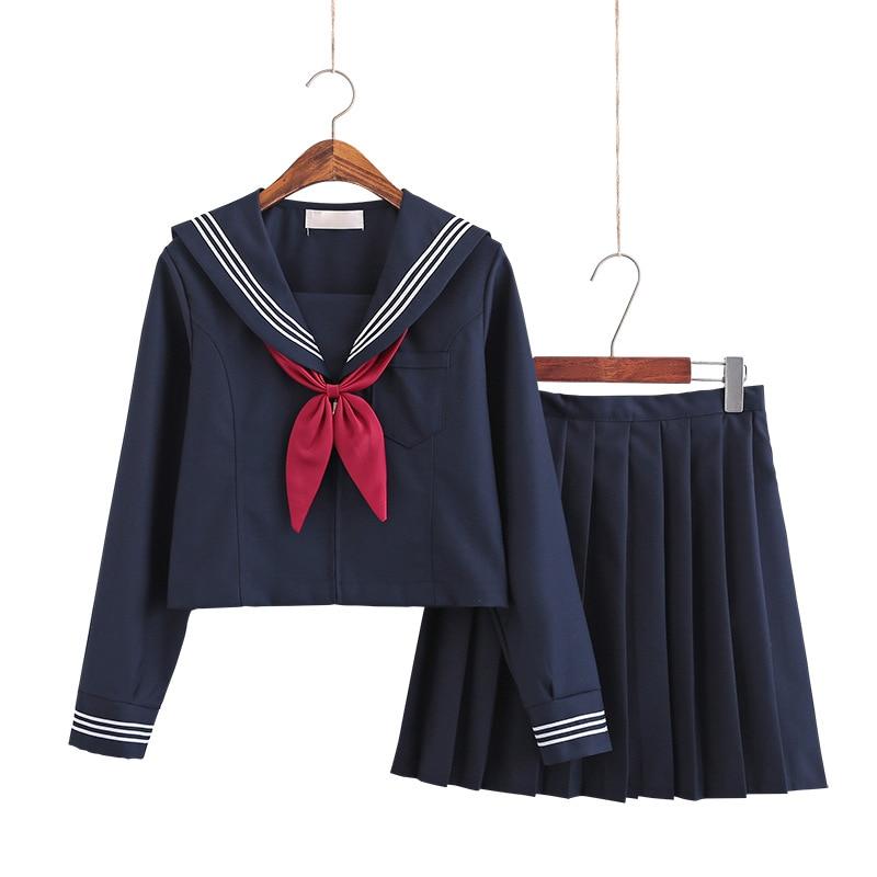 Large-Size S-5XL 8 Sizes Japanese JK Uniforms School Dresses For Girls Navy Blue Sailor Suit Jacket Middle School Uniforms Suits