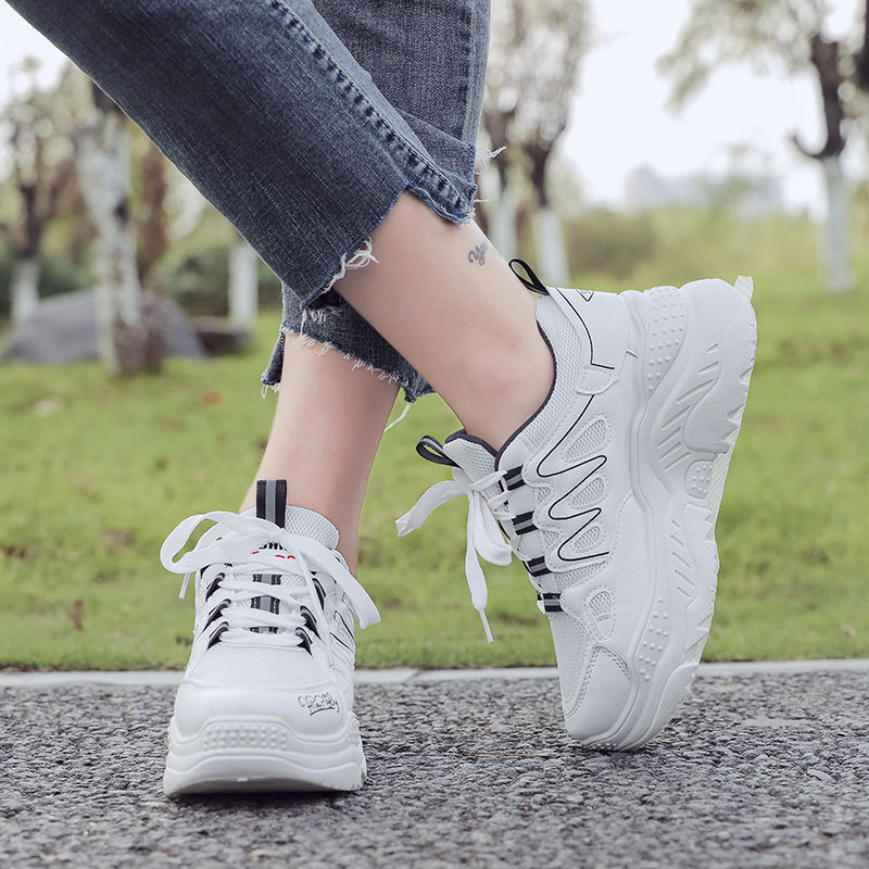 Plus size 35-43 women's sneakers leather wedges sneakers platform shoes female casual shoes