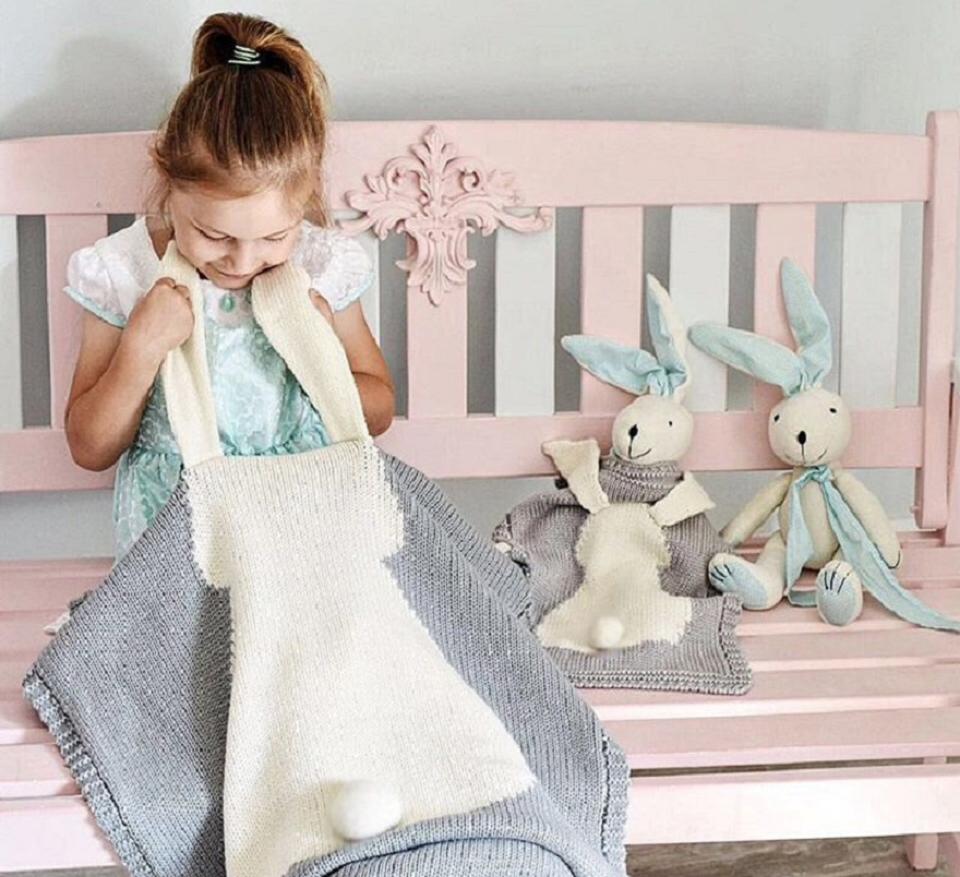 Rabbit Style Grey Throw blanket Kid Baby Photo blanket Cute Infant Girl Boy Knitted Stroller Blanket Play Mat Kid Beach Towel