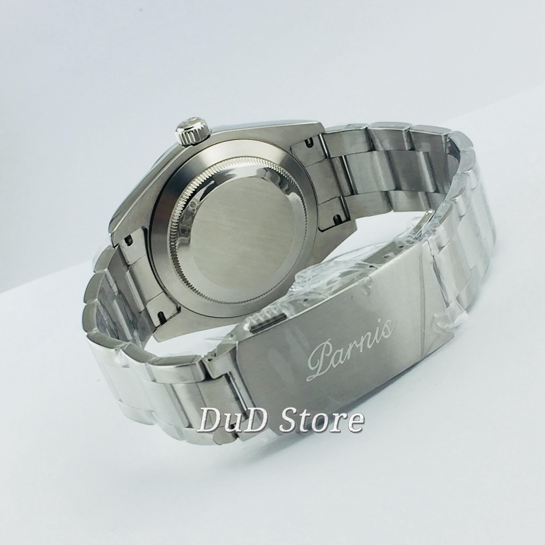 Caixa de Aço Parnis Inoxidável Safira Verde Mostrador Preto Movimento Automático Relógios Masculinos 40mm