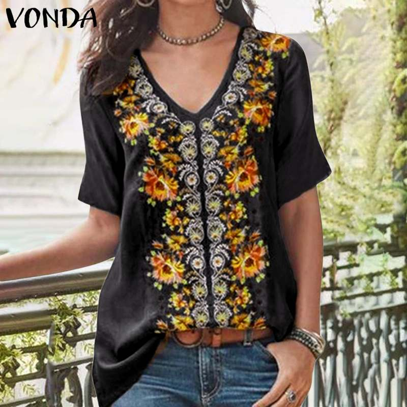 VONDA 2020 Summer Shirts Oversized Women Vintage Printed Short Sleeve Blouses Femme Bohemian Beach Blusas S-5XL Loose Tops