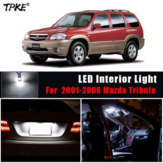 Tpke 12x branco lâmpadas led luz interior pacote kit para 2001 2006 mazda tribute mapa dome lâmpada da placa de licença