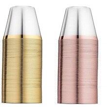 25 шт/50 шт, розовое золото, пластиковые стаканы, одноразовые стаканы, золотые стаканы, свадебные, вечерние, декоративные, прозрачные, золотые стаканы для напитков, 9 унций