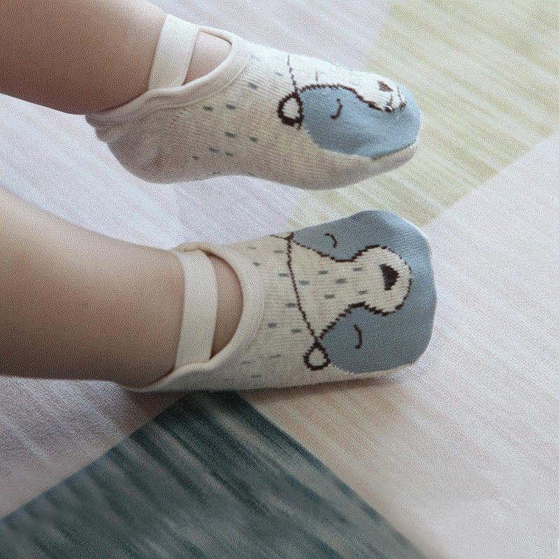Baby Socks Cotton With Anti Slip Belt Soft Floor Socks Cartoon Animal Fox Pattern Socks For Boys Girls Infants Newborn 0-3Y