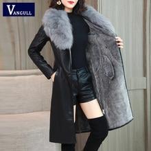 Vangull женская кожаная куртка на зиму Новинка плюс бархат Теплый тонкий большой меховой воротник длинное кожаное пальто Женское верхняя одежда M-4XL