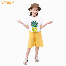 VFOCHI New Girls Clothing Sets Summer Short Sleeve T Shirt + Shorts Set Pineapple Print Kids Clothes 2Pcs