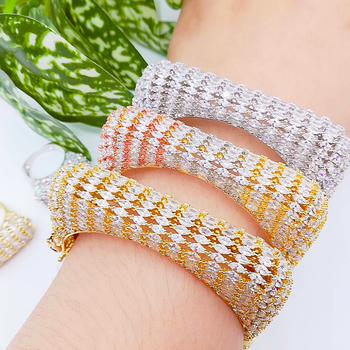 missvikki Luxury Square Bangle Ring Set For Women Bridal Wedding Party Show Accessories Full Micro Austrian crystal Jewelry Set