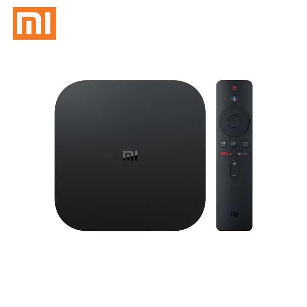 Original xiao mi mi caixa de tv s ue plug 4 k hdr android tv 8.1 ultra hd 2g 8g wifi google elenco netflix-iptv conjunto caixa superior media player