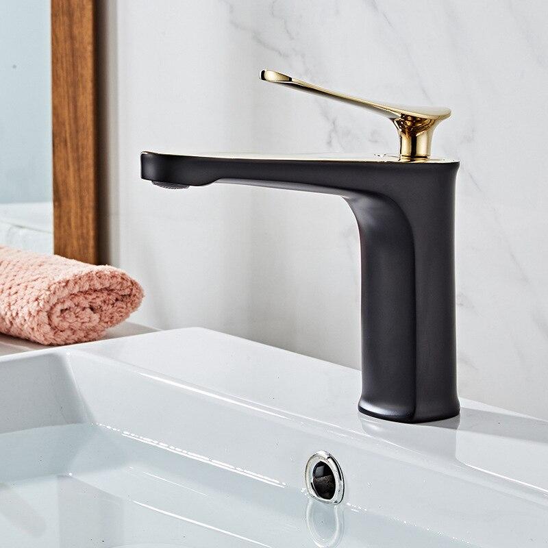 Todo cobre Luz de lujo lavabo grifo caliente y frío Europeo lavabo negro oro pintura blanco oro grifo - 2