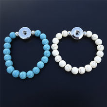 Nature Stone Beads 18mm Snap Buttons Bracelets for Women Jewelry 12 Pieces / Lot Mix Colors Wholesale Adult Size(China)