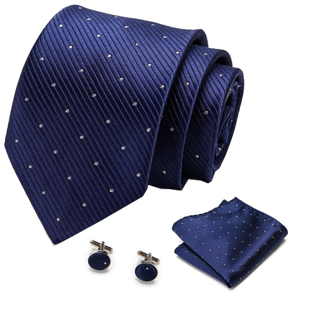 Mens 7.5cm Tie Skinny Dark Blue White Dot 100% Silk Classic Jacquard Woven Tie Hanky Cufflink Set For Men Formal Wedding Party