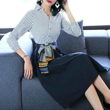 Luge 2019 Spring And Summer New Style Fashion Stripes Panel Skirt Slim Fit Slimming Waist Hugging Big Hemline Elegant Shirt Dres