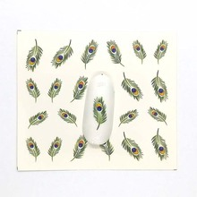 Nail Art Water Decal Green Feather Flower Red lips  Sliders Decor Pattern Sticker For Beauty Care E01/E02/E03/E04