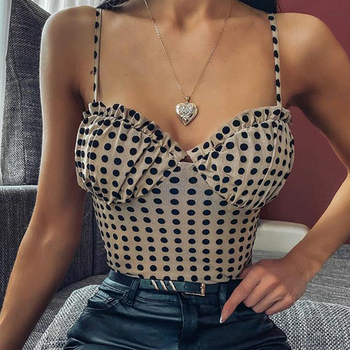 Summer Women Bodysuit 2020 Fashion Sexy Female Polka dot Print Spaghetti Strap Backless Bodysuit Club Party Clothes cute spaghetti strap zippered candy color polka dot crop top for women