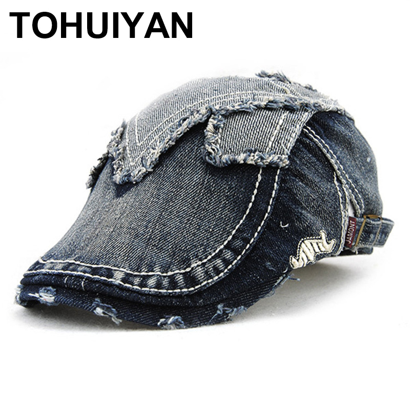2020 New Distressed Denim Hat Men Retro Tweed Newsboy Cap Irish Spring Summer Ivy Hat Male Casual Flat Cap Baker Boy Hat Unisex