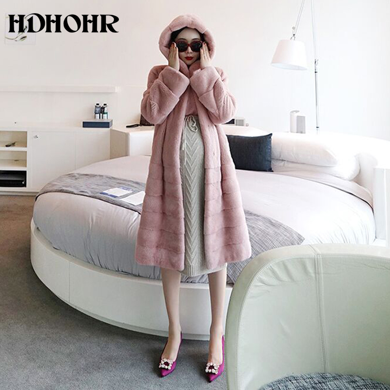 HDHOHR 2019 New Real Mink Fur Coat Women Long Fashion High Grade Mink Coat Multiple Colour Real Mink Fur Jackets With Hat