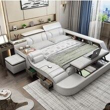 Notepad-Board Bed-Frame Massage Led-Light Bluetooth-Speaker Ultimate Bed Safe-Radio Nordic-Camas