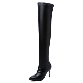 BONJOMARISA New Plus Size 34-45 Ins Sexy White Over The Knee Boots Women 2020 Thin High Heels Thigh High Lady Boots Shoes Woman 12
