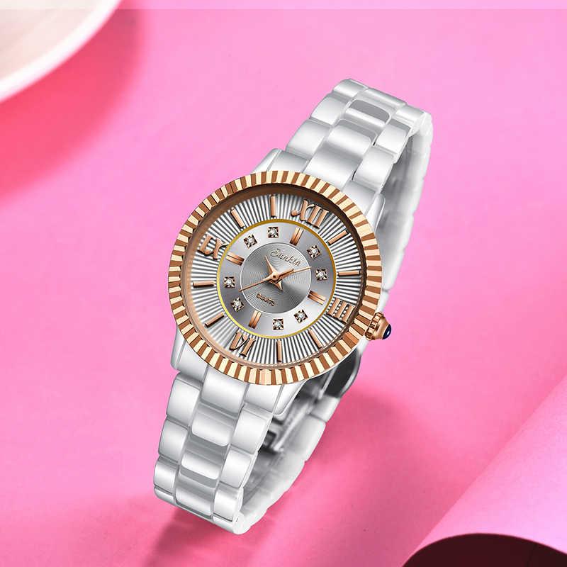 SUNKTA נשים שעונים למעלה איכות גבירותיי ריינסטון שעון יוקרה עלה זהב שחור קרמיקה עמיד למים שעונים אישה קלאסי סדרה