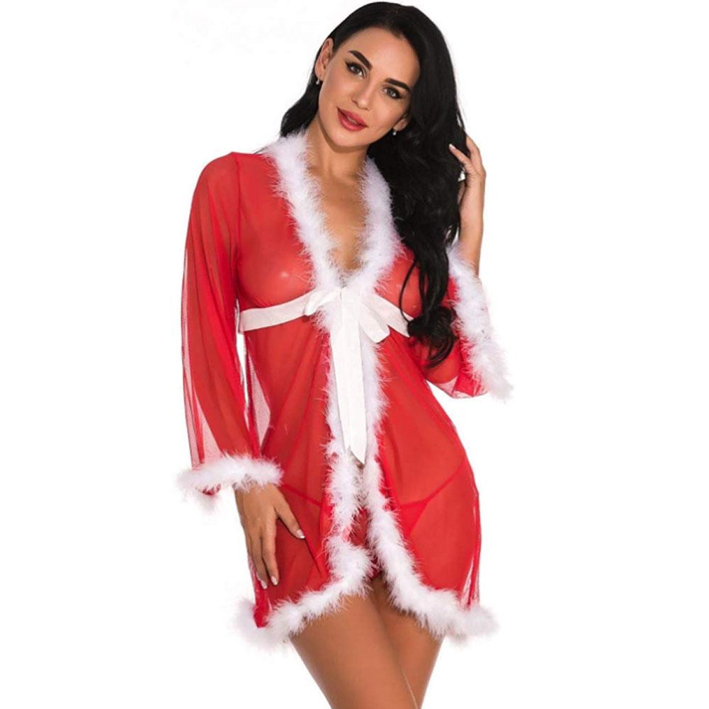 Рождественское нижнее белье, женское сексуальное нижнее белье, красное платье Babydoll, одежда для сна, костюм, Новинка 20