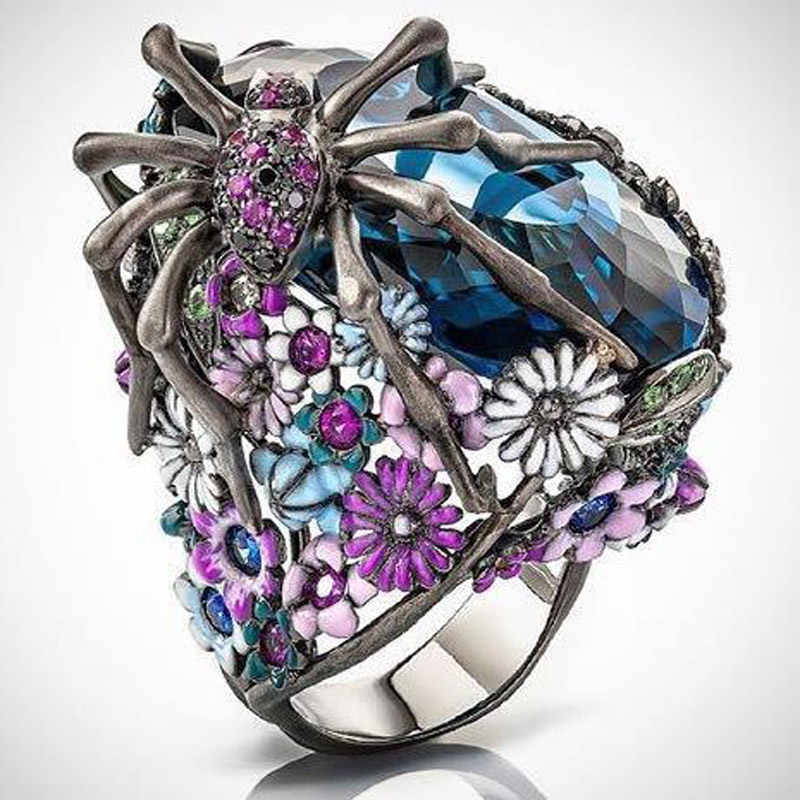 VAGZEB Silver Silver Statementแหวนคริสตัลสีฟ้าแมงมุมดอกไม้งานแต่งงานแหวนผู้หญิง