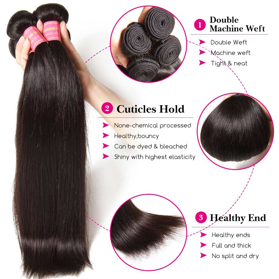Sunber 28 30  Peruvian Bone Straight Hair Bundles 3/4 PCS  Remy Hair Natural Black Color Double Weft 8- 30 Inch Straight Hair