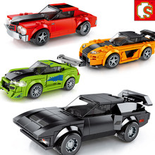 Super Ras Auto Stad F1 Snelheid Champions Grote Voertuig Racing Model Building Bricks Sport Kits Sets Sembo Blokken